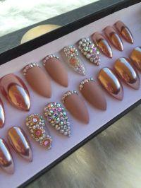 Rose Gold Chrome Press On Nails Matte & by NailedByCristy ...