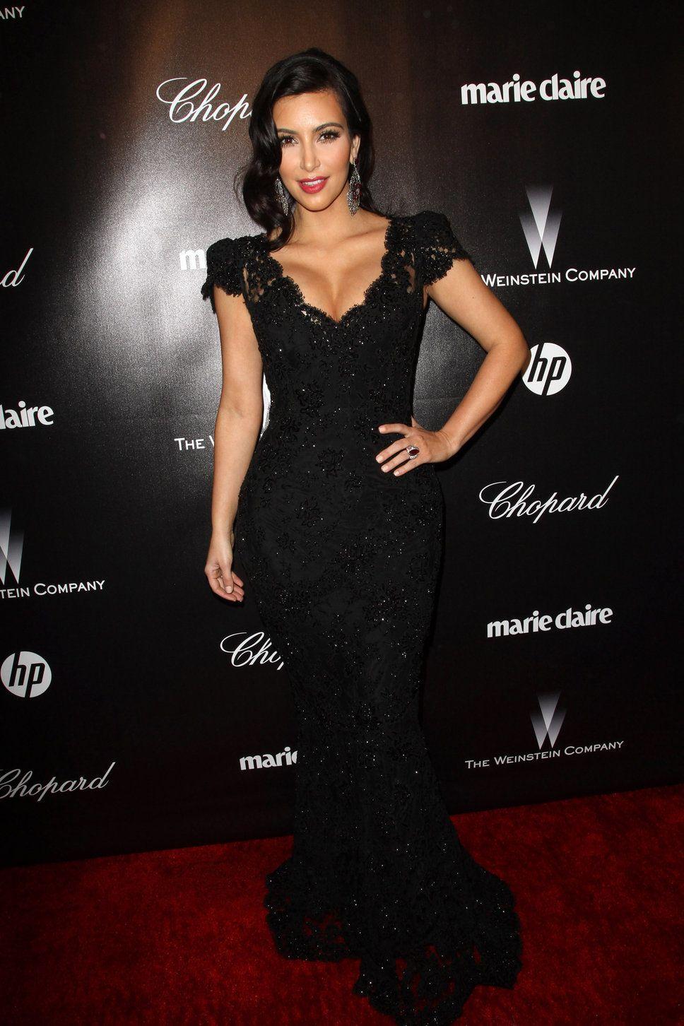 Kim kardashian black lace maxi dress hollywood curls red lipstick