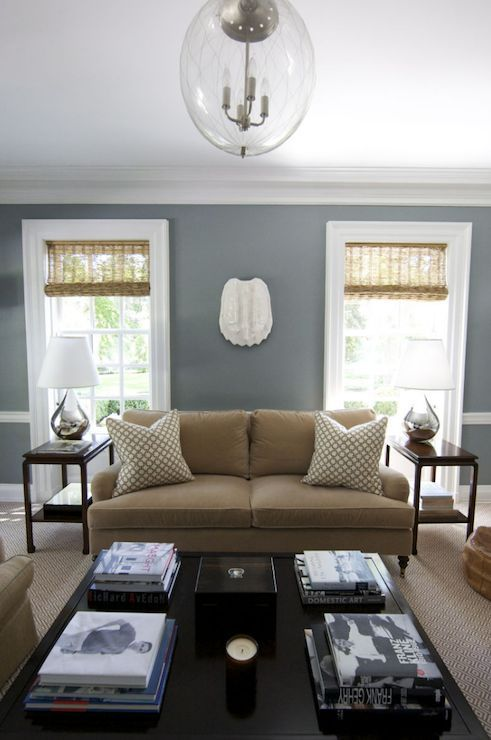 Grey and Tan Living Room Inspiration Blue wall paints, Wall - design ideas for living rooms