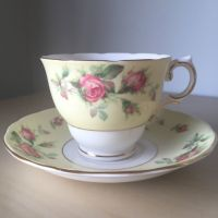 Colclough Vintage Teacup and Saucer, Pink Rose, Pale ...