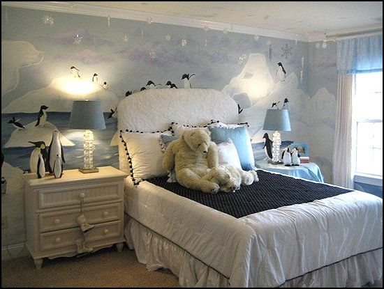 This childu0027s room looks so cozy and warm despite the cool tones - bedroom theme ideas