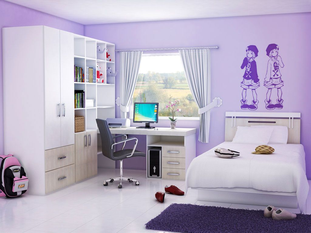 Bedrooms nice purple wall paint bedroom design for teenage with romantic white bed frame on