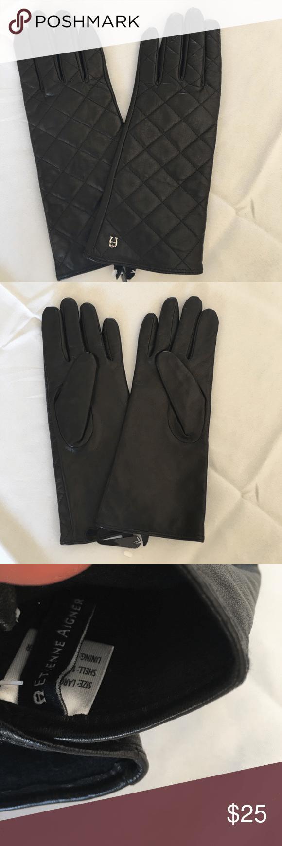 Etienne aigner leather gloves etienne aigner black quilted leather gloves etienne aigner accessories gloves mittens
