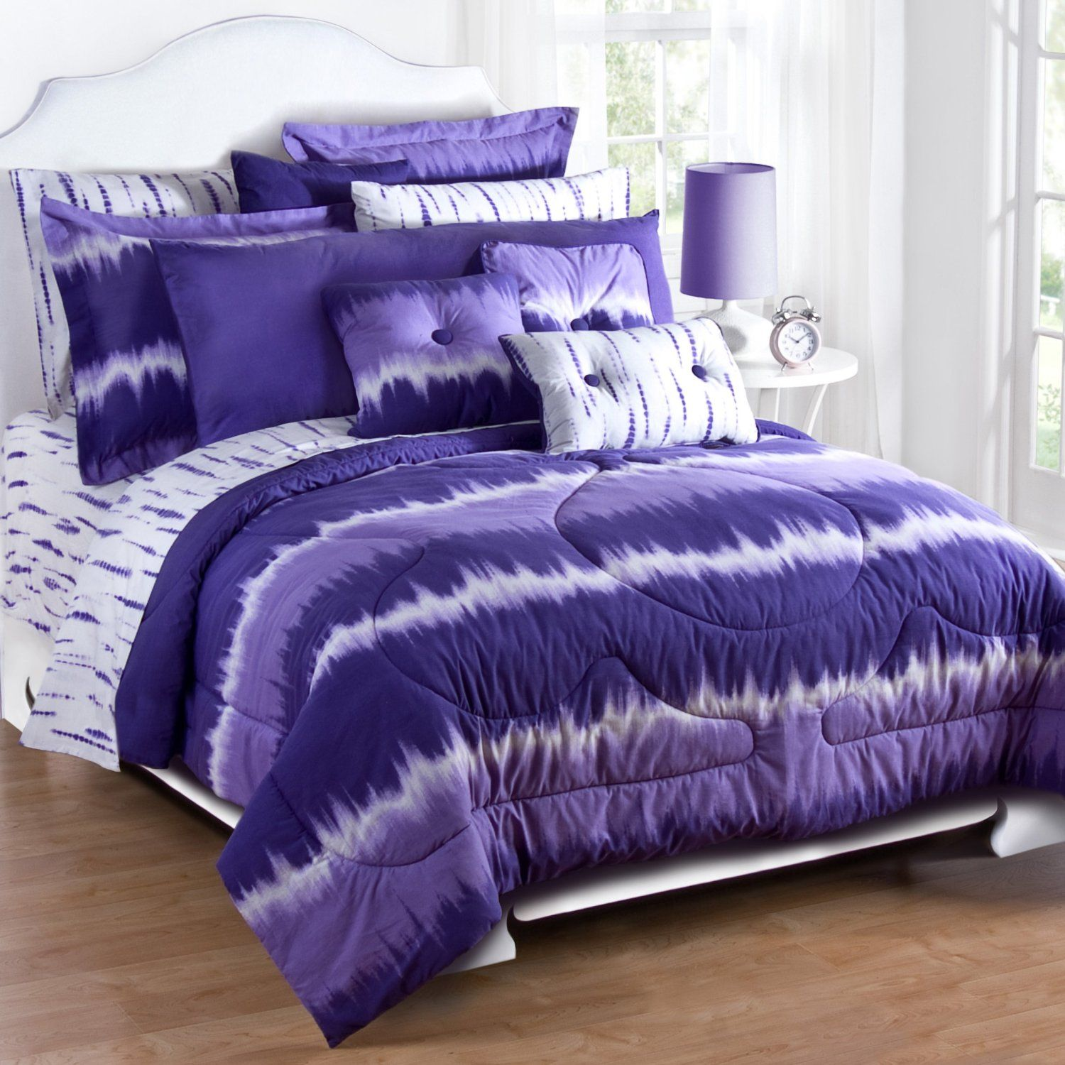 Purple tie dye comforter set omg i want this