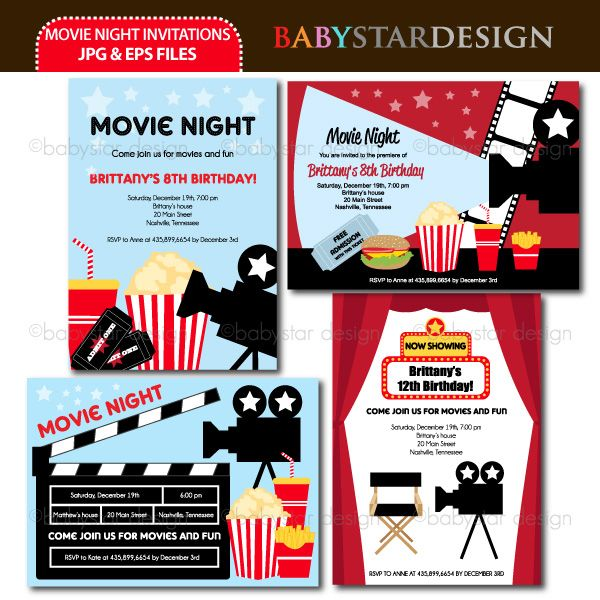 These adorable invitation templates are perfect for movie night - movie invitation template free
