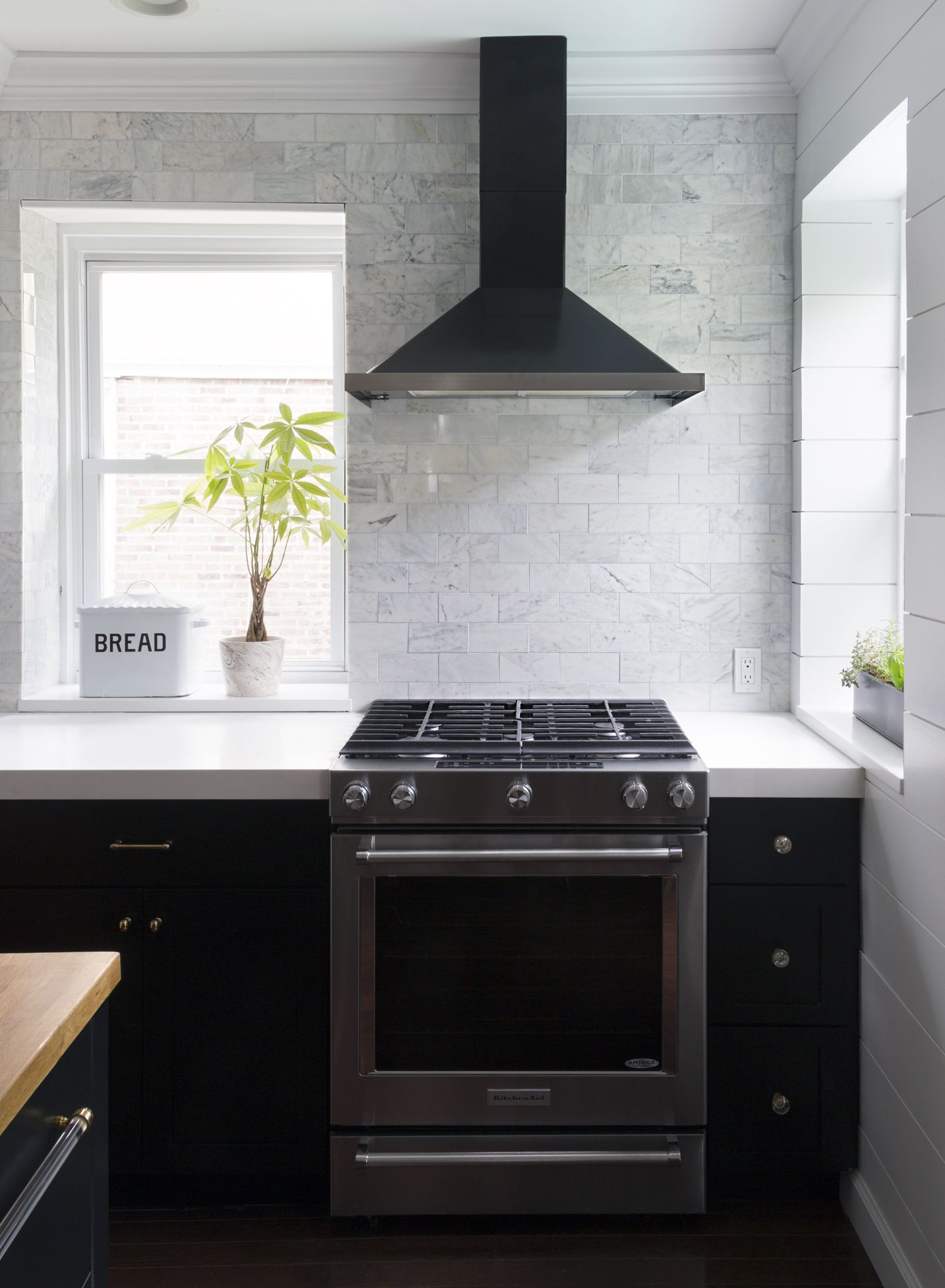 Black And White Kitchen Wall Tiles Black Kitchen With Full Wall Of White Marble Tile Black