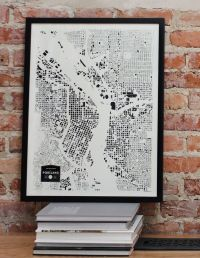 portland oregon PDX OR city map print screenprint wall art ...