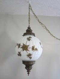 Vintage 70's swag hanging chain light fixture, light gold ...
