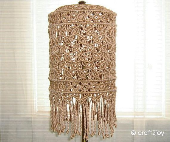Macrame lampshade for floor or table lamp by craft2joy on