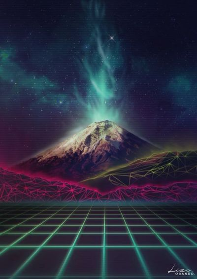 Synthwave Cotopaxi Retrofuturism Volcano | Punk from the sea | Pinterest | Volcano, Retro and Neon