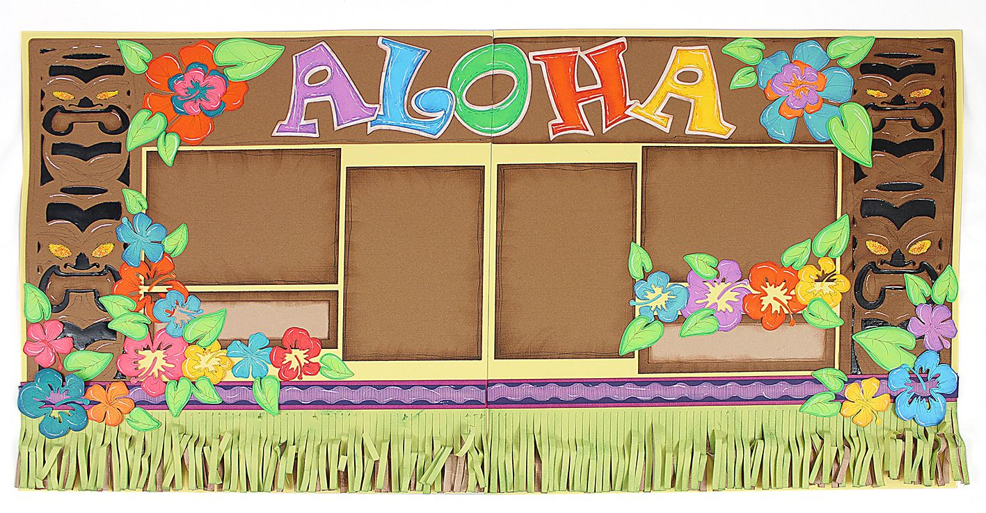 Aloha luau scrapbook layout svg and wpc cutting file from pazzles party cd and digital download
