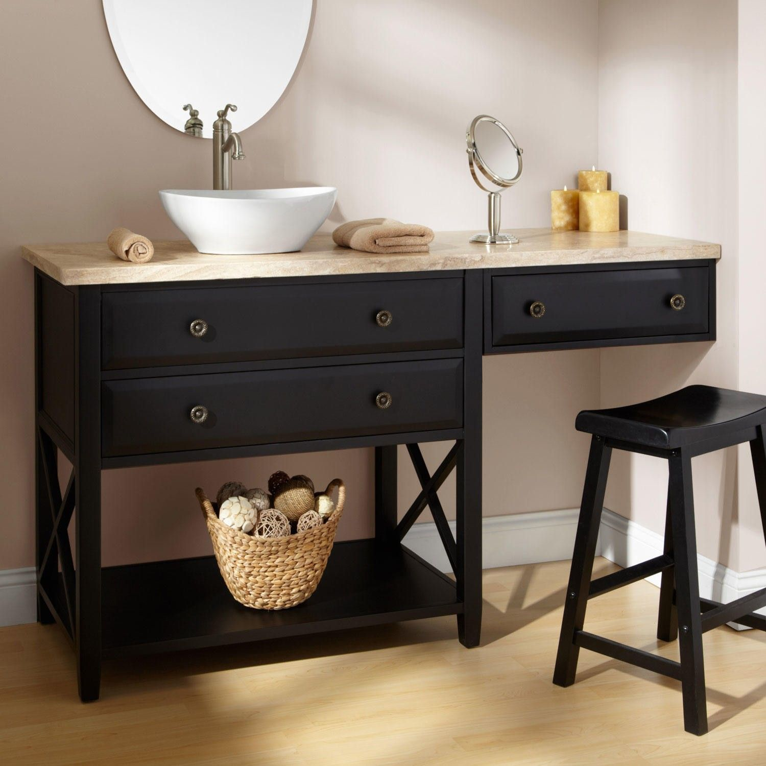 Bathroom vanity with makeup area 60 clinton black vanity for vessel sink with makeup