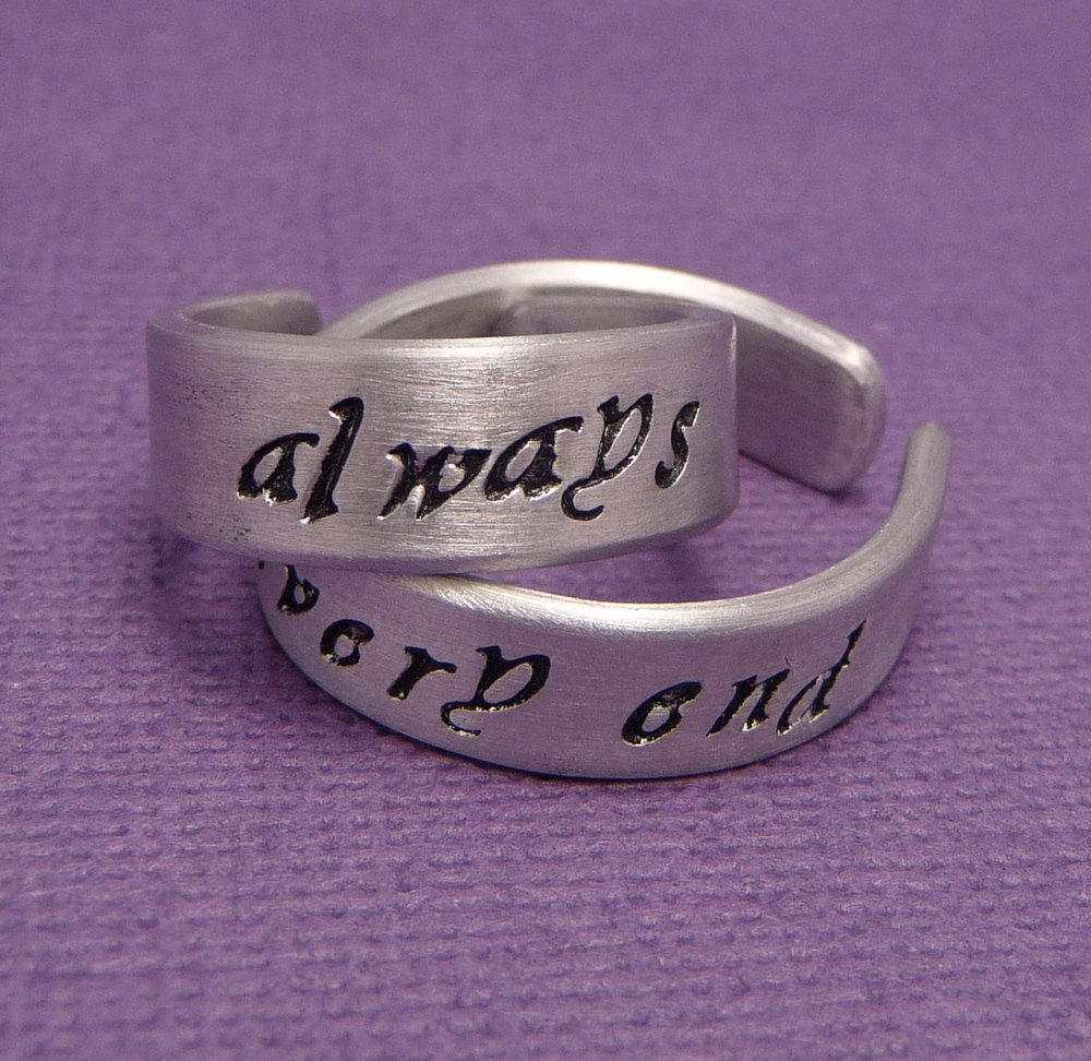 harry potter wedding bands Always Until The Very End A Pair of Hand Stamped Aluminum Rings Harry Potter RingHarry Potter WeddingWedding