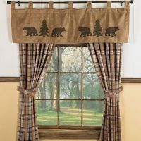 Bear & Trees Wildlife Window curtains for Cabins ...