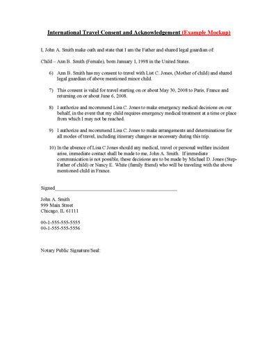 Child International Travel Consent Form Children, Travel and - travel consent form sample