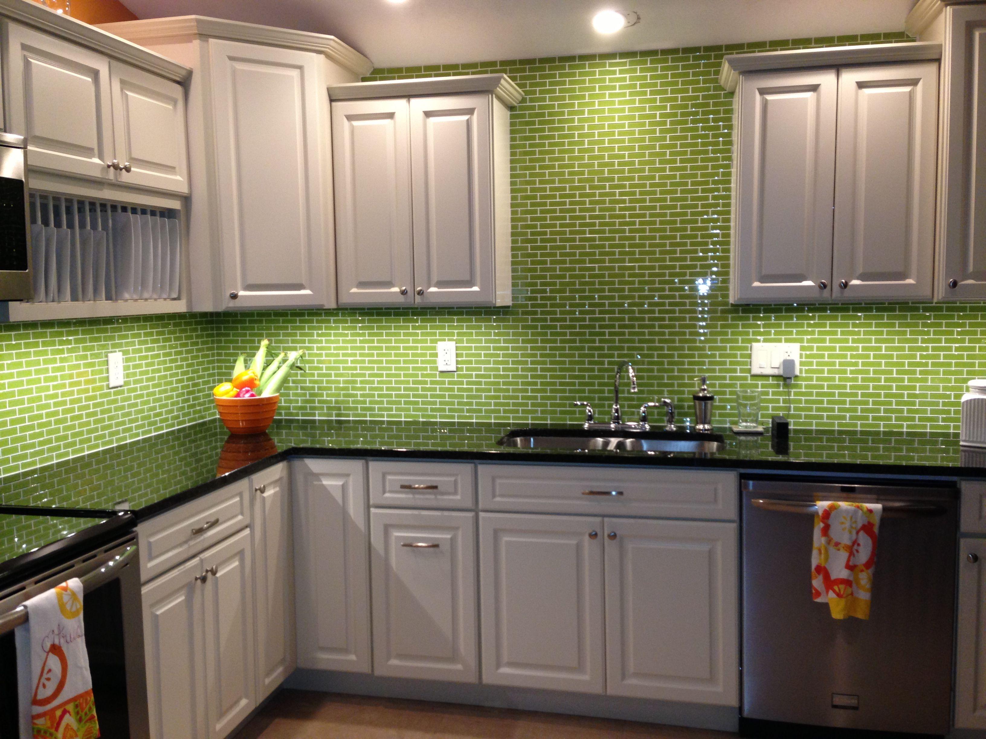 Lime green glass subway tile backsplash kitchen