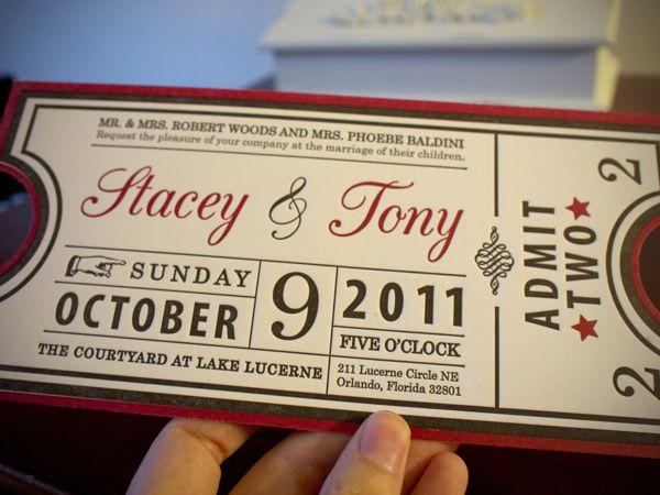 Letterpressed Ticket Invitations by Stacey Baldini in Showcase of - ticket invitation