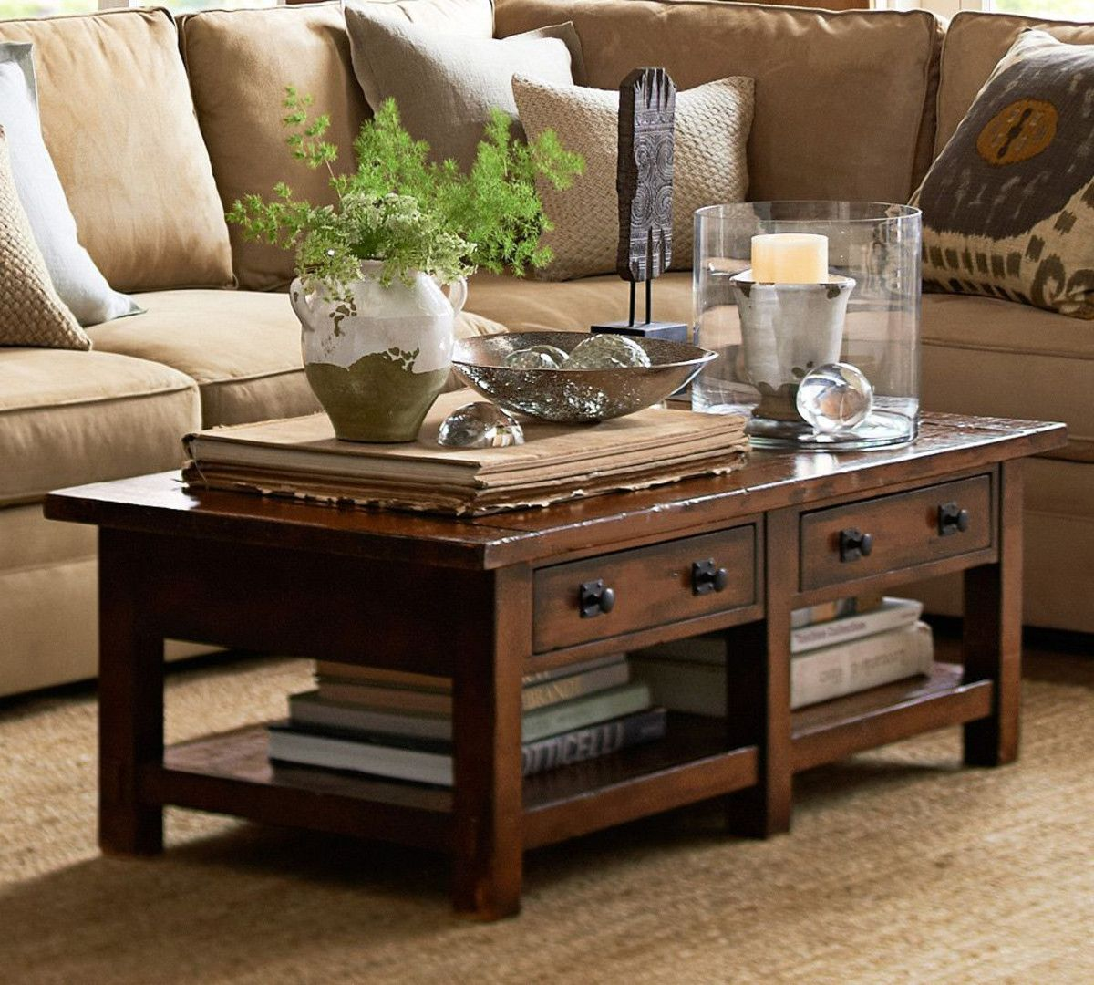 Benchwright Coffee Table Rustic Mahogany Stain Pottery