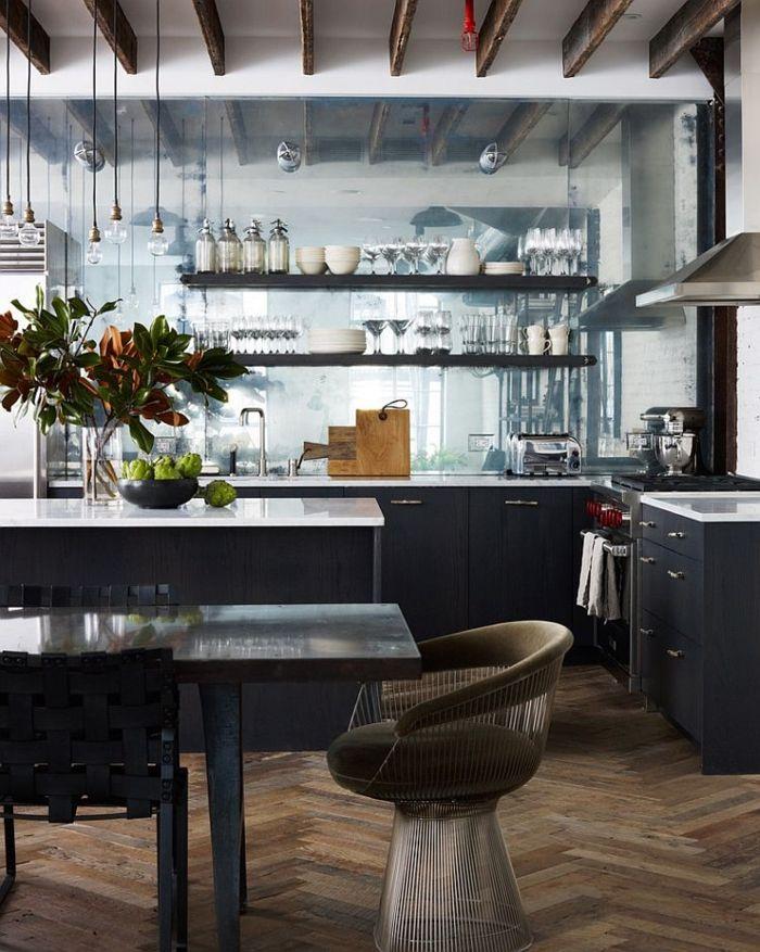 ... Kücheneinrichtung Küche Esszimmer Industrieller Look Offene Regale    Esszimmer New York ...