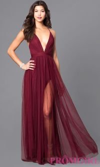 Image of long sexy prom dress with deep v-neckline. Front ...