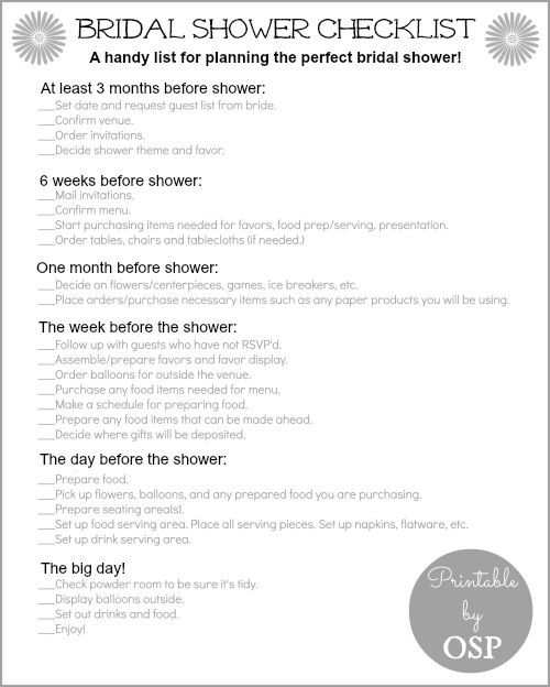 Bridal Shower Checklist Everything, Places and Showers - bridal shower checklist