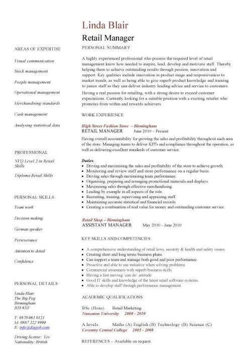 Retail CV template, sales environment, sales assistant CV, shop - assistant manager duties resume