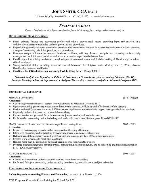 example resume finance analyst