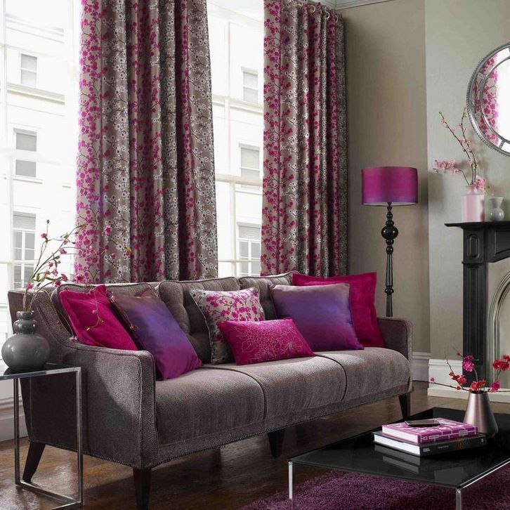Mature Impression Of Dark Grey And Purple Colour Combination Of - purple and grey living room