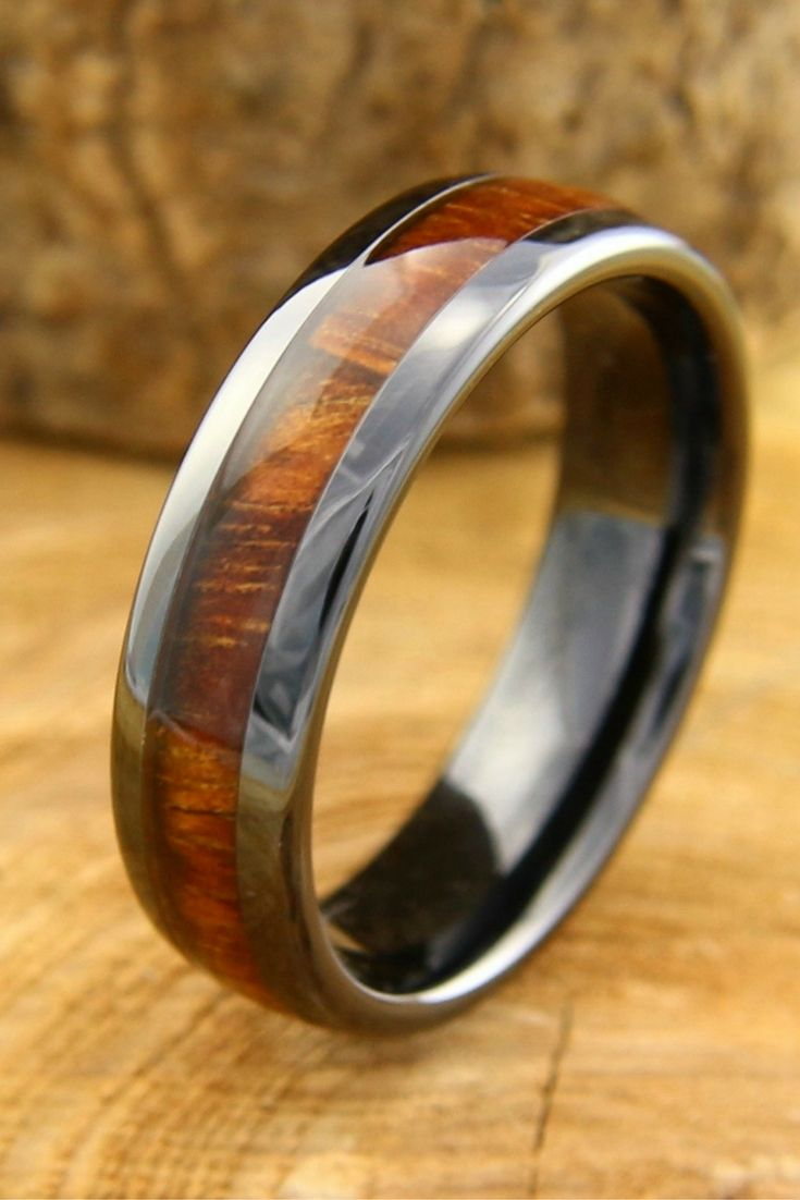 mens wedding rings wood 6mm black high tech ceramic ring inlaid with genuine koa wood This would make such Unique Mens Wedding