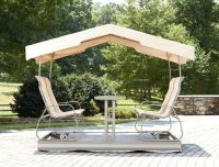 Patio & Outdoor Patio Glider Swing With Canopy Beige ...