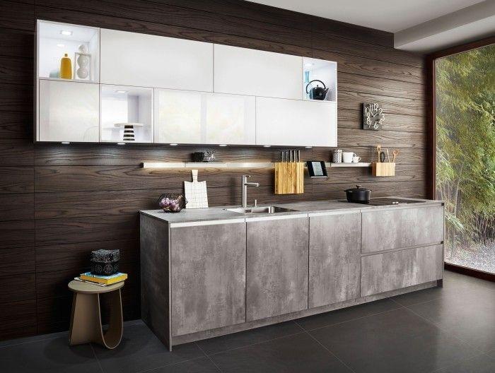 moderne küche mit weißer akzentzfläche gestalten Küche Möbel - moderne kuche gestalten