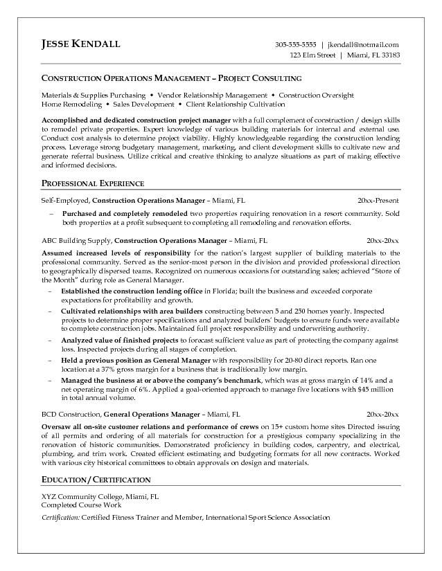 Construction Resume Examples Nice Looking Construction Manager - operations manager resume sample