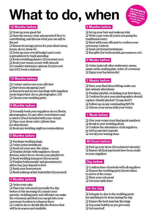 What to do, when your wedding checklist Wedding checklist - wedding list