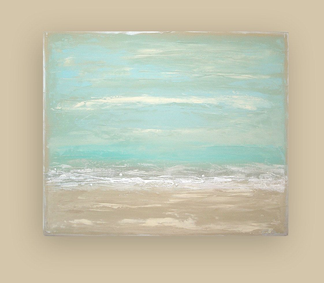 Large Vertical Paintings Beach Shabby Chic Acrylic Abstract Painting Titled Ocean