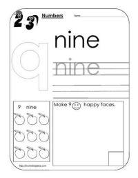Number 9 Worksheet | Morning work | Pinterest | Worksheets ...