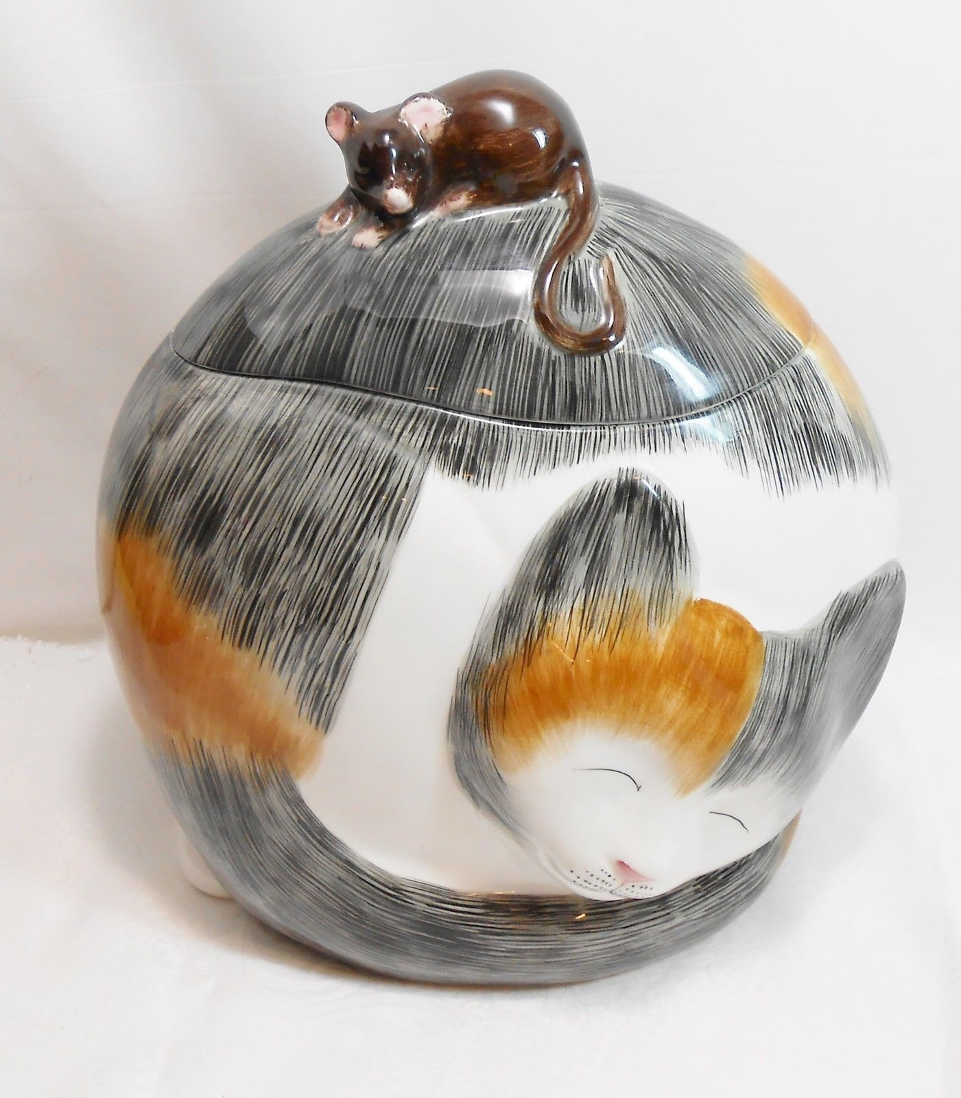 Ceramic Cookie Jar Sets Calico Cat Sleeping Cookie Jar With Mouse On Lid Ceramic