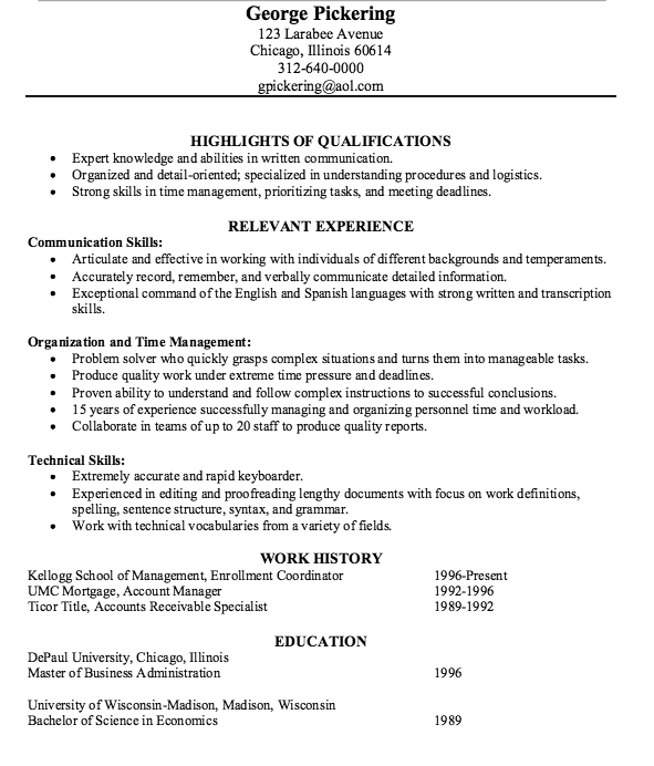 accounts receivable specialist resume template