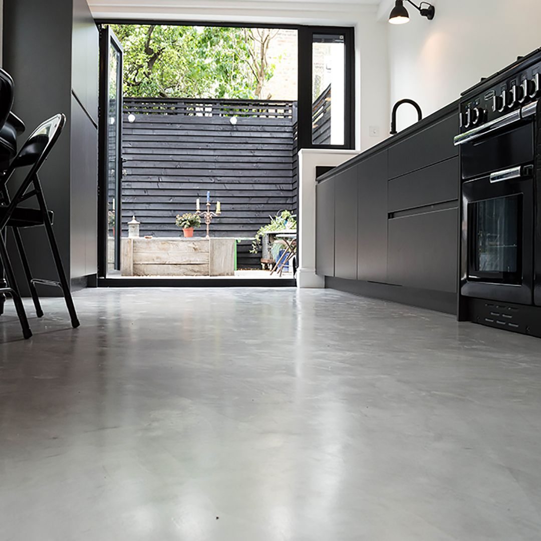 concrete kitchen floor Micro Concrete Kitchen installation Poured resin and concrete flooring