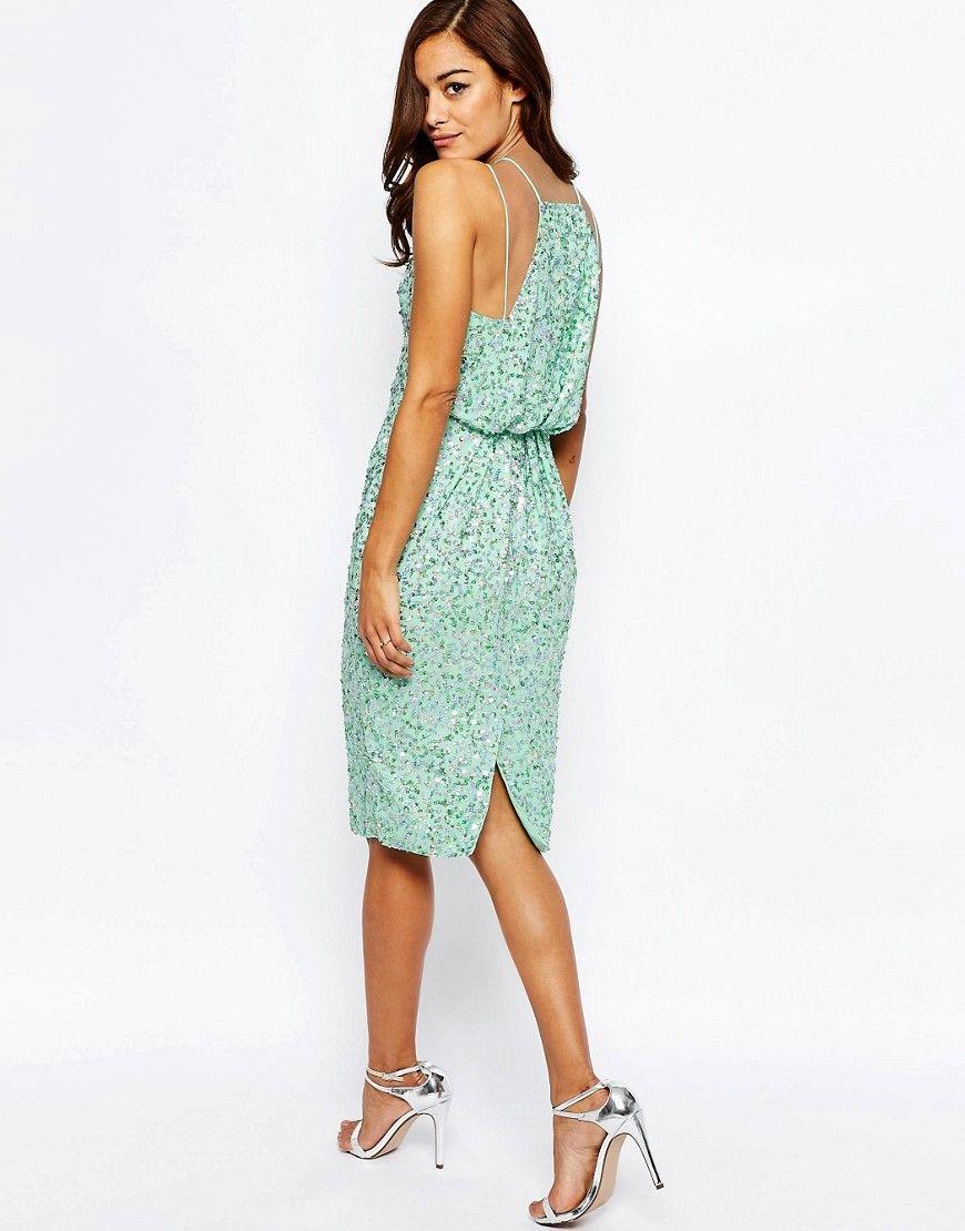 Image 2 of asos iridescent drape back midi pencil dress