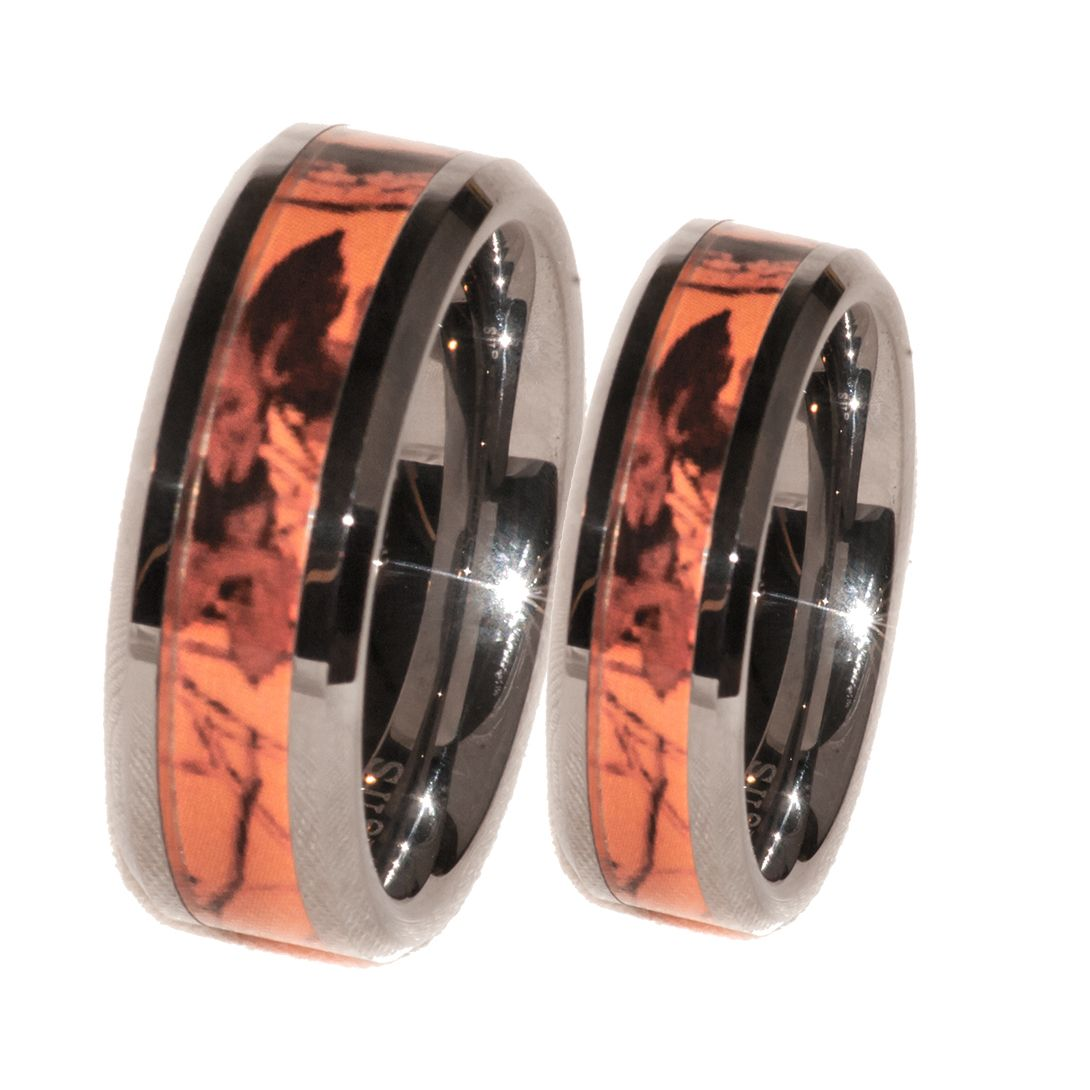 camo mens wedding bands Southern Sisters Designs Copy of Orange Camo Band Couples Ring Set 41 95 http