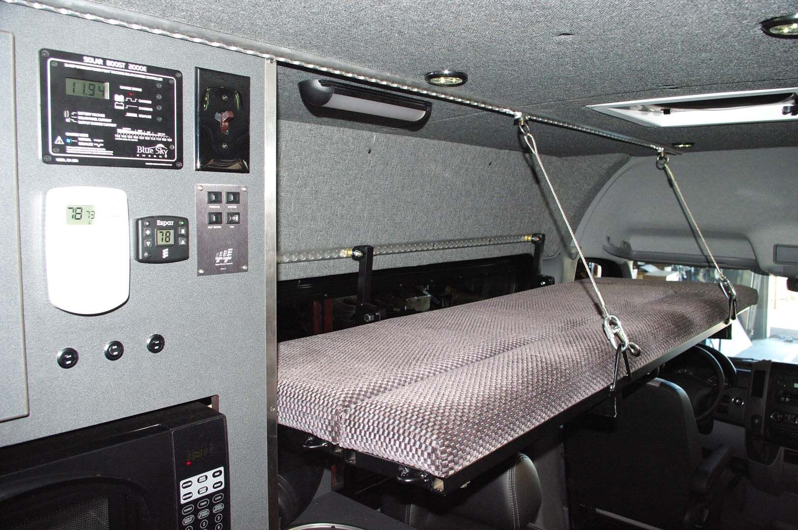 Fold Up Kids Bed Fold Down Bed In A Sprinter Camper Van Conversion
