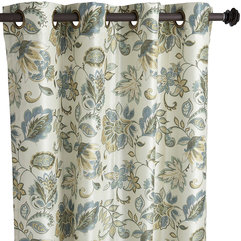 Glencove floral blue 84 grommet curtain