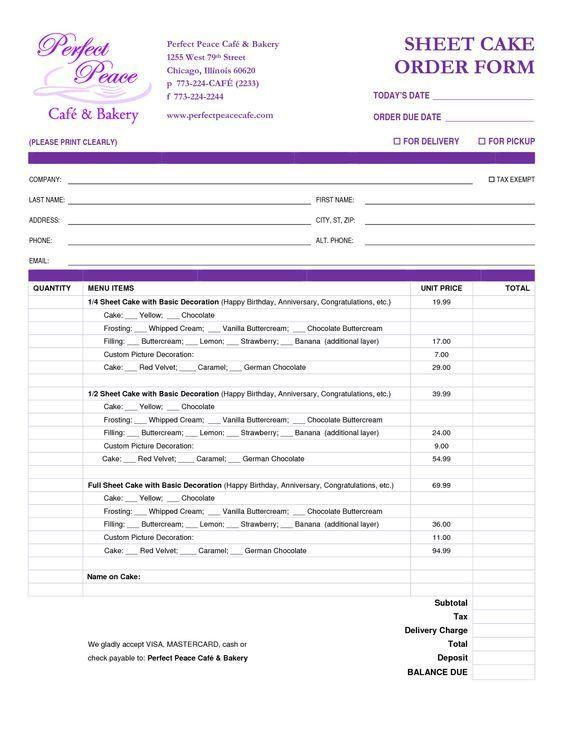 cake order form template free download - Google Search cakes - order form template free