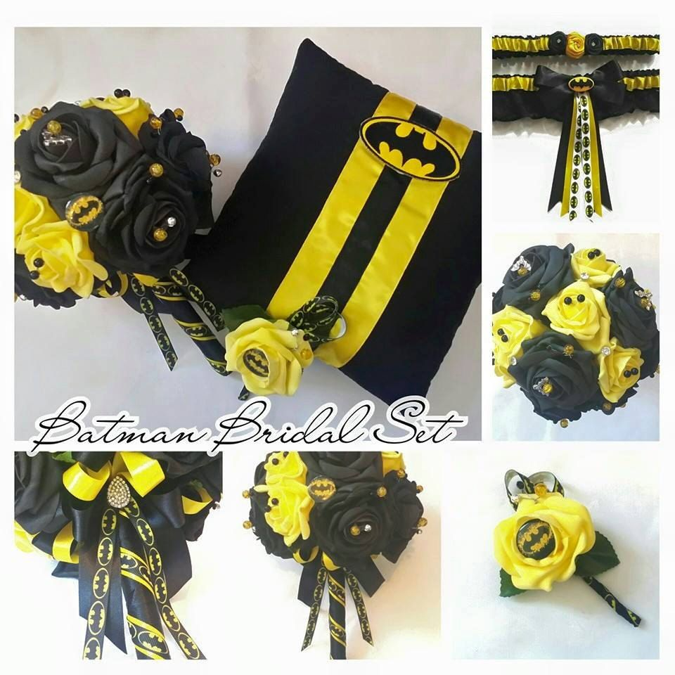 batman wedding ring Batman Bouquet Bridal Set What is included in this set Brides Bouquet Batman Ring Pillow Grooms Buttonhole and a made to measure Garter Set