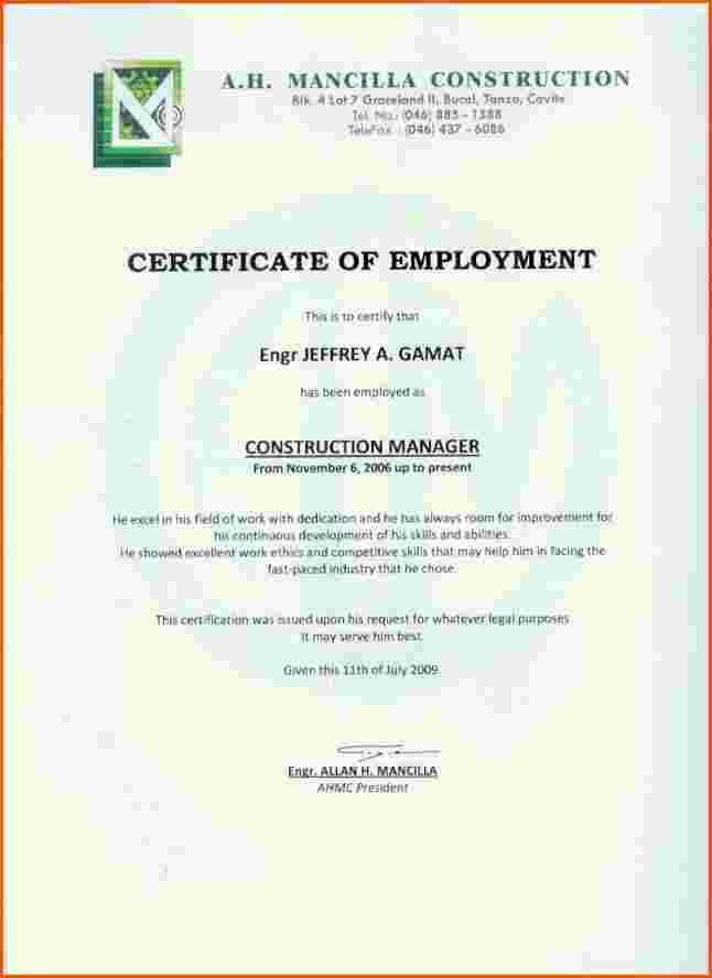 Certification of employment sample node2003 cvresumeasprovider employment certificate work sample certification letter format certification of employment sample yadclub Image collections