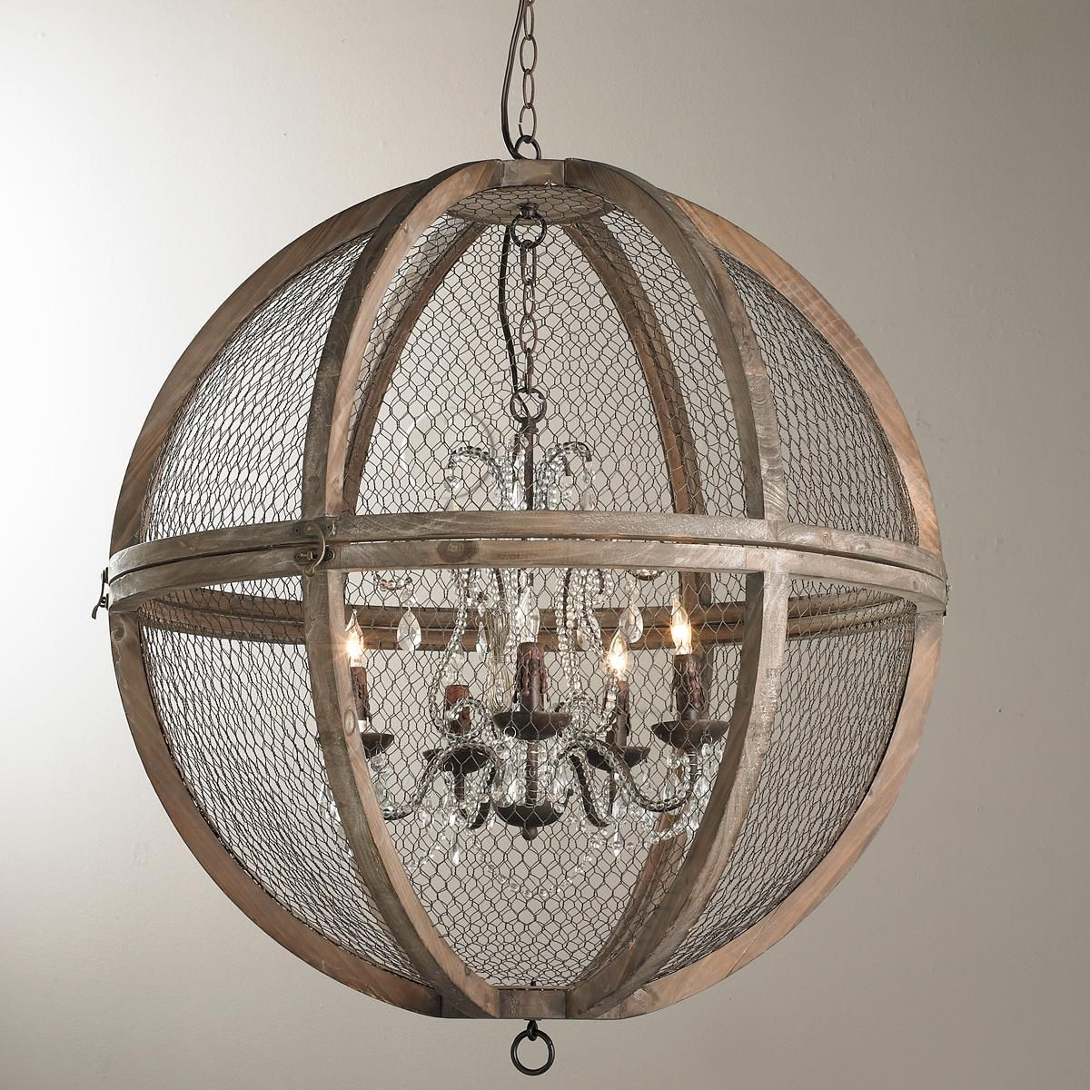 Big W Lighting Wire Sphere Crystal Chandelier Large French Chandelier