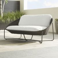 Morocco Charcoal Oval Loveseat with Cushion - Crate and ...