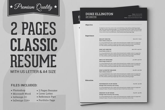 Two Pages Classic Resume CV Template by SNIPESCIENTIST on Creative - artistic resume templates