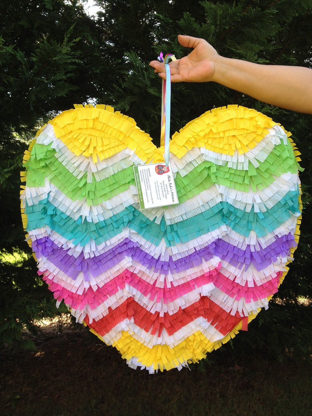 wedding pinata Heart Pinata Chevron Pattern Rainbow Colors Wedding Pinata Wedding Decor Bridal Shower Activity Bachelorette Party