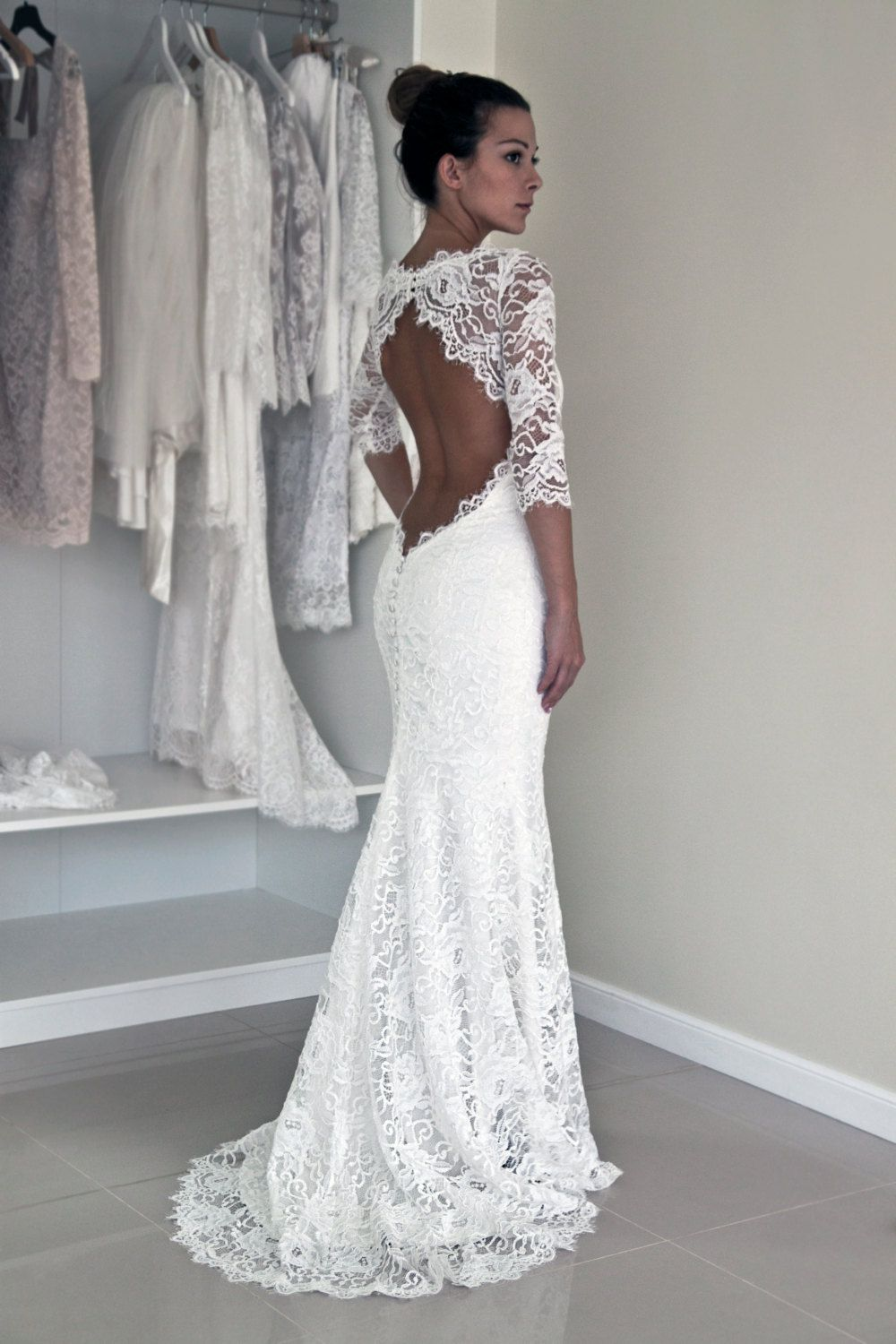 fitted lace wedding dress Keyhole Back Wedding Dress in Corded French Lace by PolinaIvanova